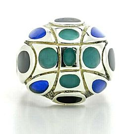 John Hardy Blue and Black Enamel Dome Ring in Sterling Silver