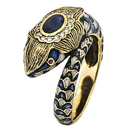 Antique Snake Ring with a Sapphire Diamonds and Enamel in 14k Yellow Gold