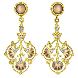 Women's Diamond Enamel Dangle Earrings in 18k Yellow Gold
