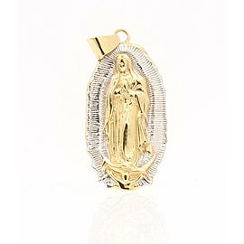 18k Yellow White Gold Saint Mary Pendant Charm