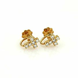 Van Cleef & Arpels Diamond Cross 18k Yellow Gold Screw Back Earrings