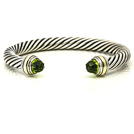 David Yurman Cable Classics Peridot 7mm Bracelet Sterling Silver 14k Gold