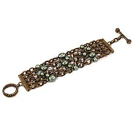 Stephen Dweck Cultured Pearls Multi-Strand Chain Bracelet Toggle Clasp
