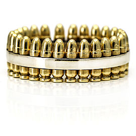 Men's Bullet Band Ring in 14k Yellow and White Gold