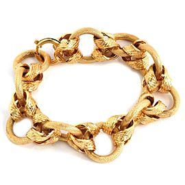Textured Snake Skin Design 18k Yellow Gold Interlaced Link Bracelet