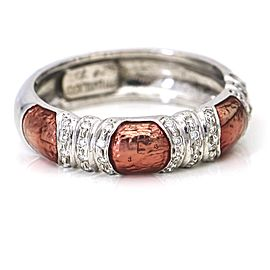 Hidalgo Pink Enamel Diamond Band Ring in 18k White Gold