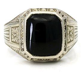Art Deco Men's Onyx Ring 10k White Gold