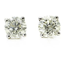 1.00 Carat Diamond Stud Earrings in 14k White Gold