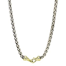 David Yurman 6mm Wheat Chain Necklace in Sterling Silver and 14k Gold 16""
