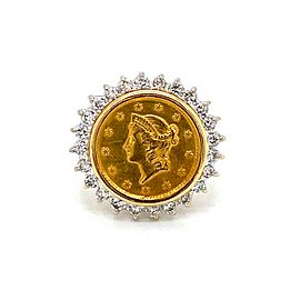 Diamond 1852 $1 22k Gold Coin 14k Yellow & White Gold Ring