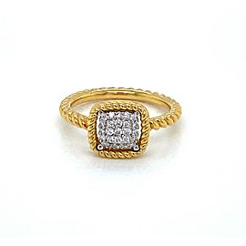 Roberto Coin 18K Yellow Gold New Barocco Diamond Pave Square Ring