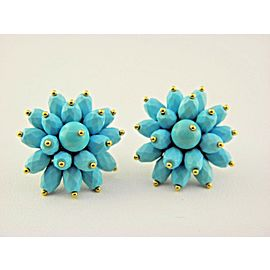 18k Yellow Gold Turquoise Bead Stud Earrings