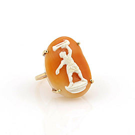 Vintage 14k Yellow Gold Shell Cameo Man Figure Oval Top Ring