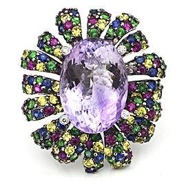 Amethyst Sapphire Tsavorite Diamond Bold Statement Ring in 18k White Gold