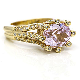 Sonia B. Kunzite Diamond Cocktail Ring in 14k Yellow Gold