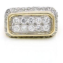 Men's Diamond Rectangular Statement Ring in 14k Yellow Gold
