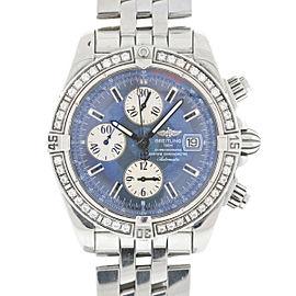 Breitling E13356 Chronomat Evolution Blue Dial Diamond Bezel Automatic Watch