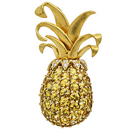 Yellow Sapphire Diamond Pineapple Brooch in 18k Gold Signed