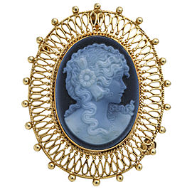Vintage Hard-stone Cameo Brooch in 14k Yellow Gold