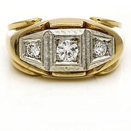 Men's Vintage Three Stone Diamond Band Ring in 14k Yellow Gold