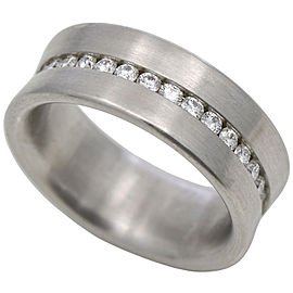 Diamond Concave Eternity Band Ring in Platinum ( .68 ct tw ) Signed