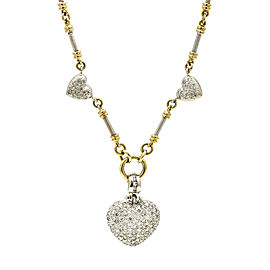 Pave Diamond Hearts Fancy Link Choker Necklace in 14k Gold ( 2.00 ct tw )