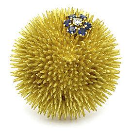 Tiffany & Co. Sapphire Diamond Vintage Sea Urchin Brooch in 18k Yellow Gold