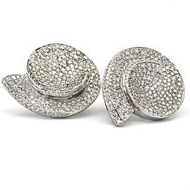 Salavetti Pave Diamond Sea Shell Earrings in 18k White Gold ( 11.64 ct tw )