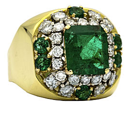 Emerald and Diamond Statement Ring in 18k Yellow Gold ( 4.50 ct tw )