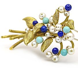 Pearl Lapis Lazuli Turquoise Beads On Branch with Leaves in 18k Yellow Gold