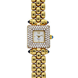 Chopard Classic Square Pave Diamond Watch in 18k Yellow Gold 10-6534