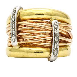 Women's Diamond Wide Band in 18k Tri-Color Gold