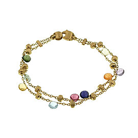 Marco Bicego 18K Yellow Gold Mixed Stone Two Strand Paradise Bracelet Size 7""