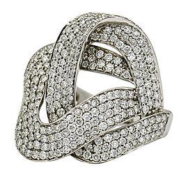 Pave Diamond Interlocking Ribbons Statement Ring in 14k White Gold (3.00 ct tw)