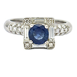 Blue Sapphire and Diamond Ring in 18k White Gold ( 1.20 ct tw )