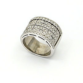 Pave Diamond Openwork Filigree Wide Band in 14k White Gold ( .50 ct tw )