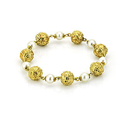 Pearls and Gold Beads Bracelet in 18-karat Yellow Gold Signed