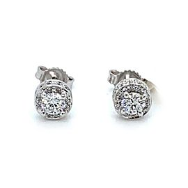Gregg Ruth Diamond Solitaire w/Accent 18k White Gold Stud Earrings