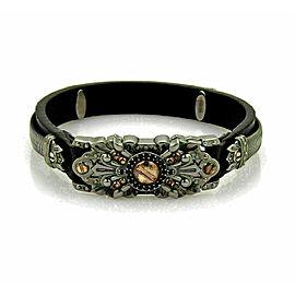 Stephen Webster No Regrets Sterling Black Rhodium Rose Gold Leather Bracelet