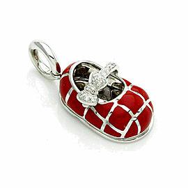 Aaron Basha Diamond 18K White Gold & Red Quilt Baby Shoe Charm