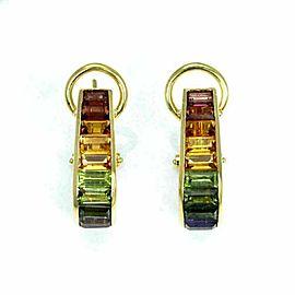 H. Stern Rainbow Multi-Color Gemstones 18k Yellow Gold Oval Hoop Earrings