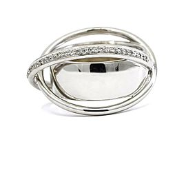Atomic X Pave Diamond Crossover Band Ring in 18k White Gold ( .50 ct tw )