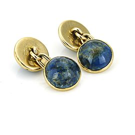 Vintage Lapis Lazuli Cufflinks in 10k Yellow Gold