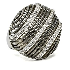 Diamond Dome Statement Ring in 18k Anodized White Gold