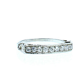 ESTATE Vintage 14k White Gold .60ct Round Diamonds Ladies Ring Band Size 7.5