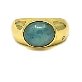 Women's Jade with a Diamond Ring in 18k Yellow Gold