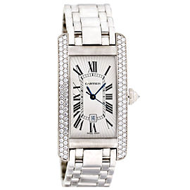 Cartier Tank Americaine Diamond Ladies Watch 18k White Gold 1726