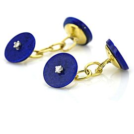 Lapis Lazuli and Diamond Vintage Cufflinks in 14k Yellow Gold