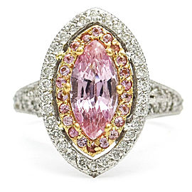 Barry Kronen Pink Topaz Sapphire Diamond Marquise Halo Ring 18k Gold