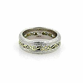 Tacori Platinum & 18k Yellow Gold Scroll Design 7mm Band Ring